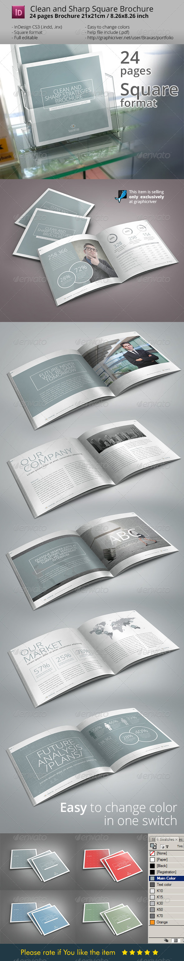 Sharp and Clean Square Indesign Brochure Template - Informational Brochures