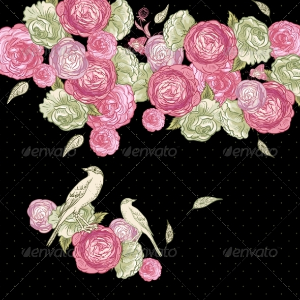 Rose Background with Birds - Patterns Decorative