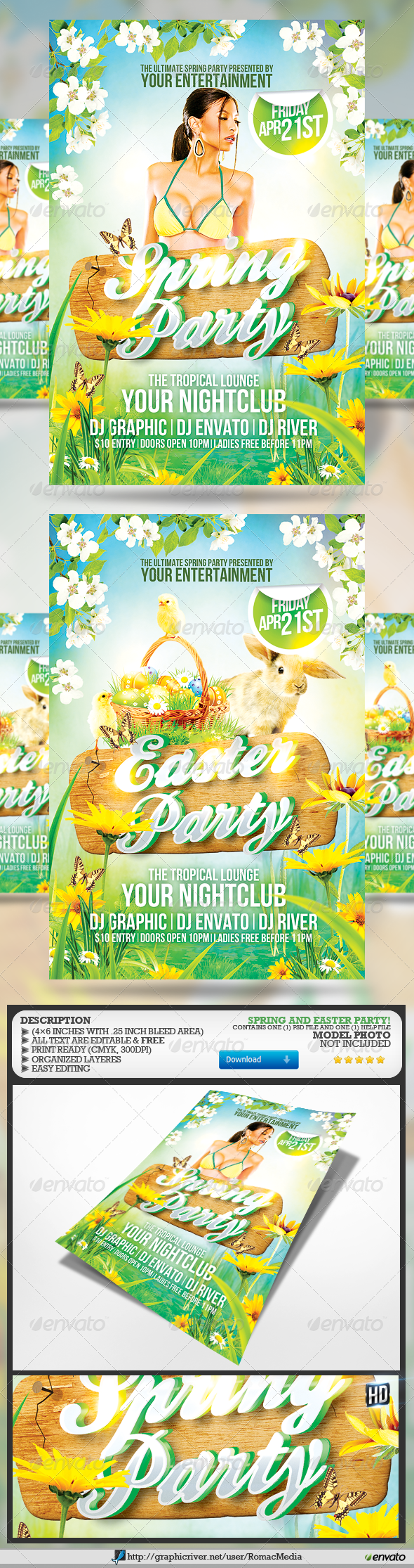 Spring and Easter Party Flyer - Holidays Events