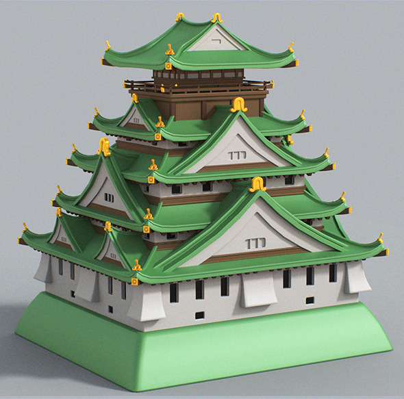 Cartoon Osaka Castle - 3DOcean Item for Sale