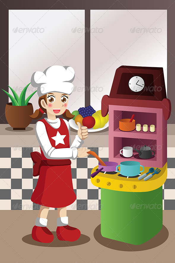 Girl Playing with Kitchen and Cooking Toy - People Characters