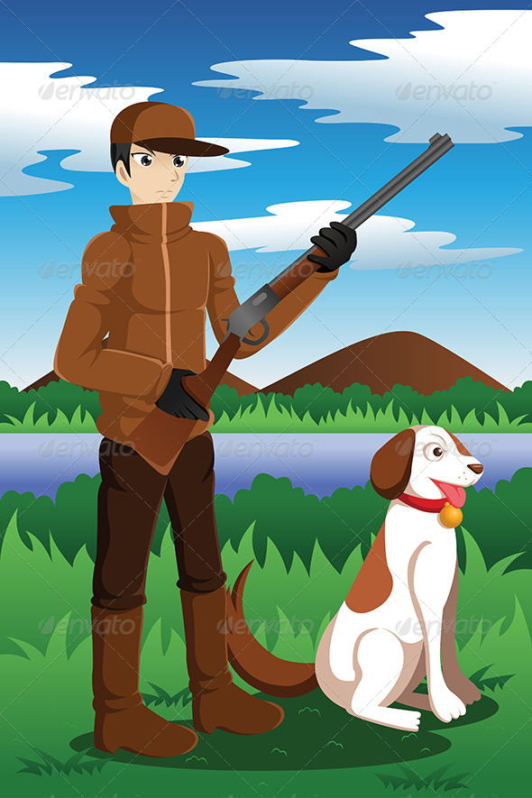 Duck Hunter with His Dog - People Characters