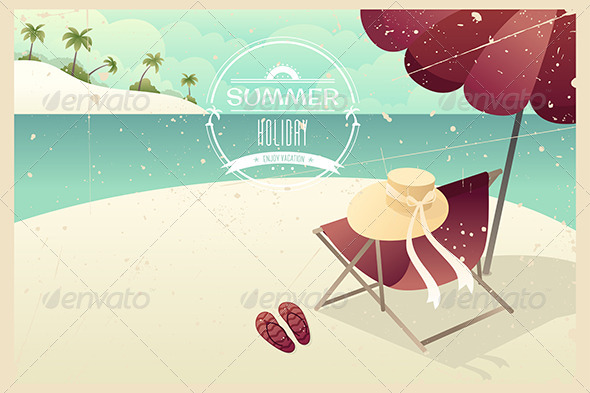 Vintage Summer Poster - Backgrounds Decorative
