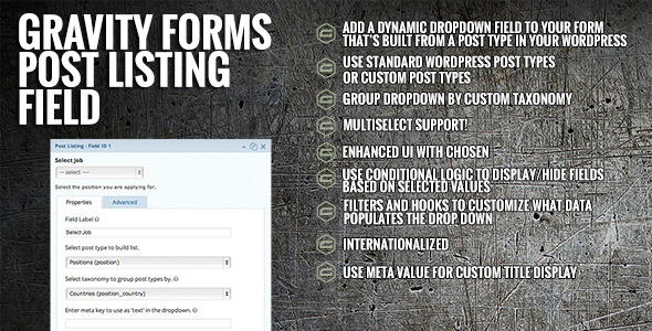 Gravity Forms Post Listing Field - CodeCanyon Item for Sale