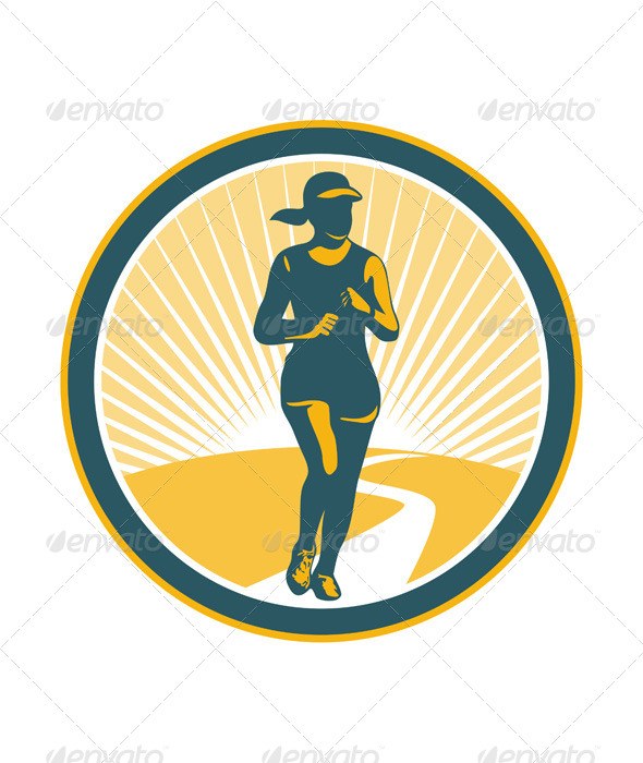 Female Marathon Runner Circle - Sports/Activity Conceptual