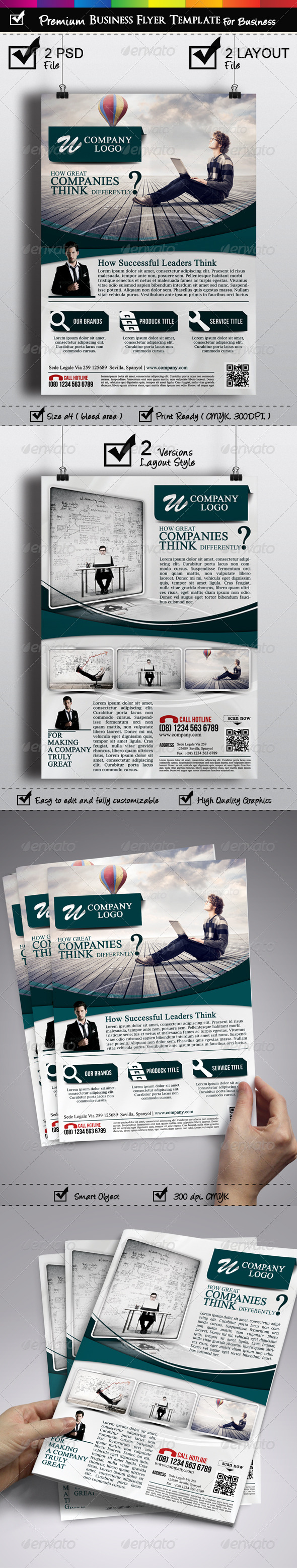 Premium Business Flyer Template 2 Versions - Corporate Flyers