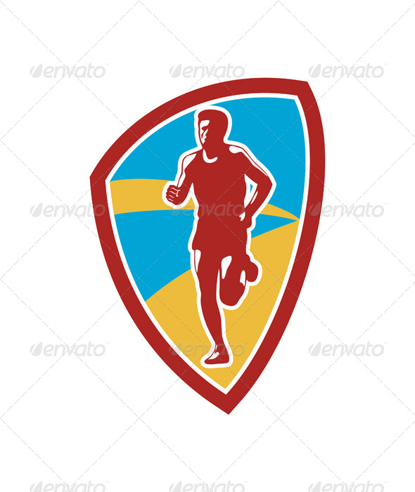 Marathon Runner Shield Retro - Sports/Activity Conceptual