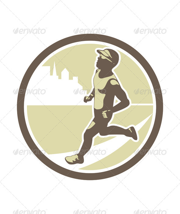 Triathlete Running Side Circle - Sports/Activity Conceptual