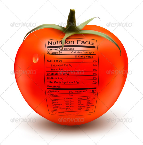 Tomato with a Nutrition Facts Label  - Food Objects