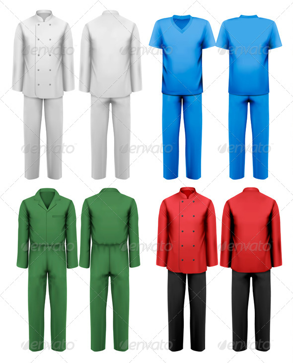 Set of White and Colorful Work Clothes - Commercial / Shopping Conceptual