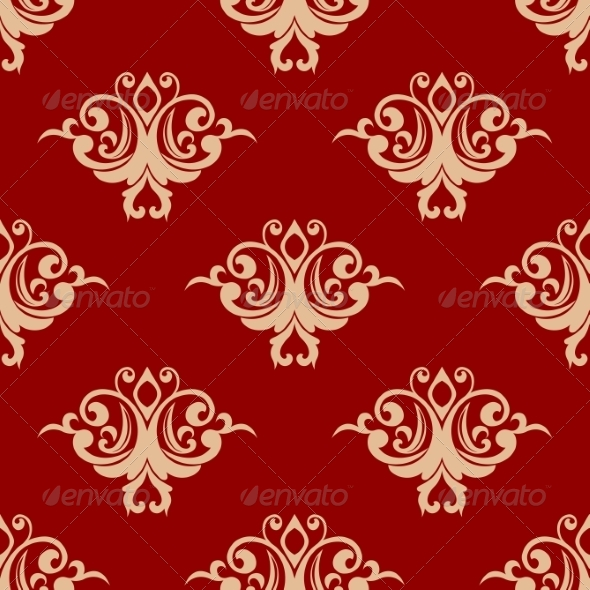 Red on Beige Ffloral Seamless Pattern - Patterns Decorative