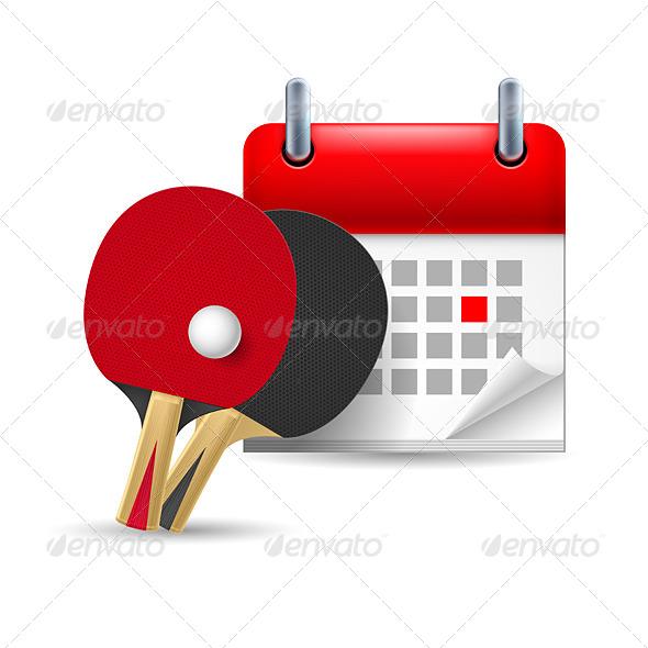 Ping Pong Rackets and Calendar - Miscellaneous Vectors