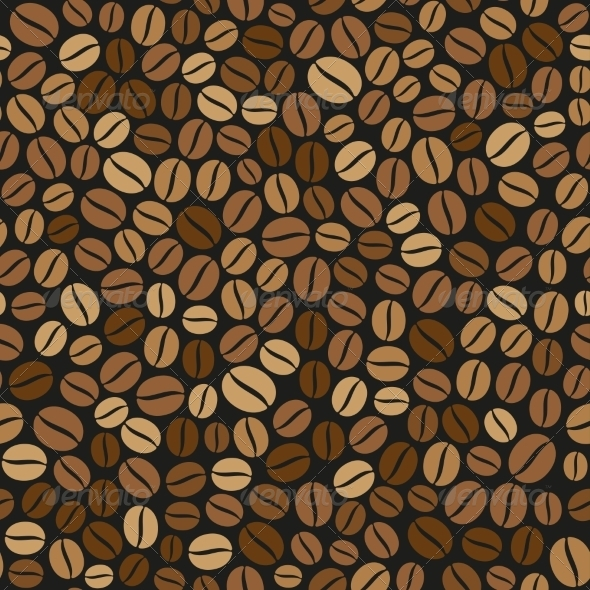 Coffee Beans Seamless Pattern on Dark Background - Patterns Decorative
