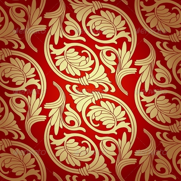 Damask Seamless with Baroque Ornaments - Patterns Decorative