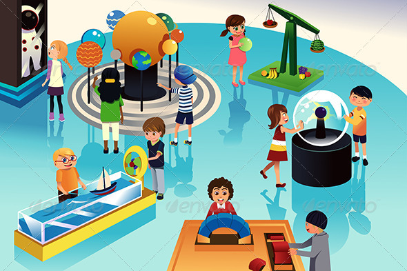 Kids on a Trip to a Science Center - People Characters