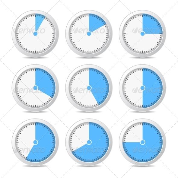 Timer Icons on White Background - Web Technology