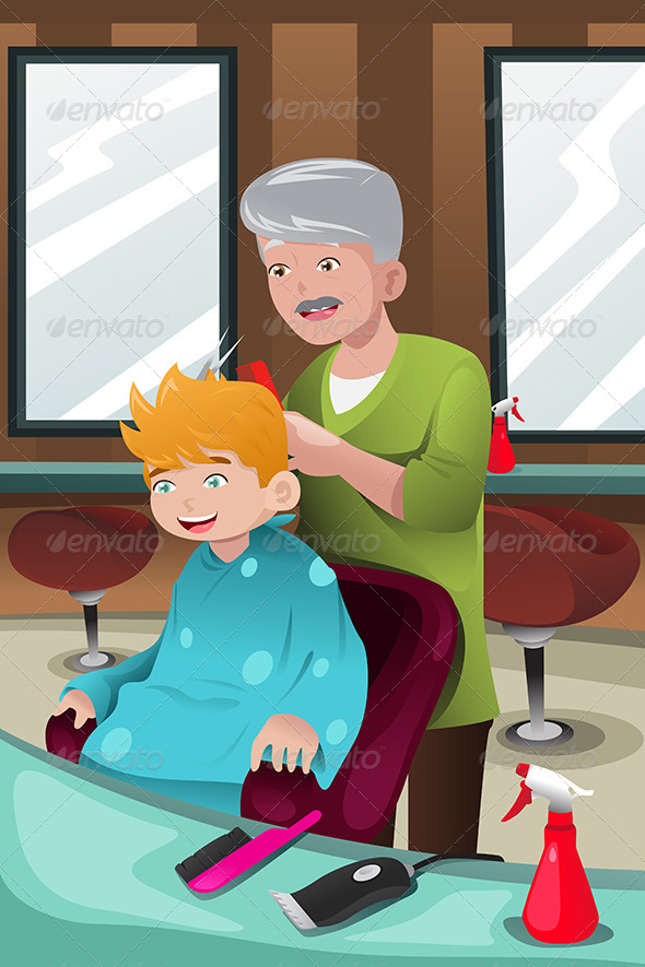 Kid Getting a Haircut - People Characters