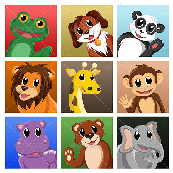 Animals Waving Hello - Animals Characters