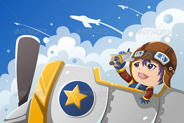 Kid Playing with an Airplane - People Characters