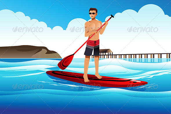 Man Paddle Boarding in the Ocean - Sports/Activity Conceptual