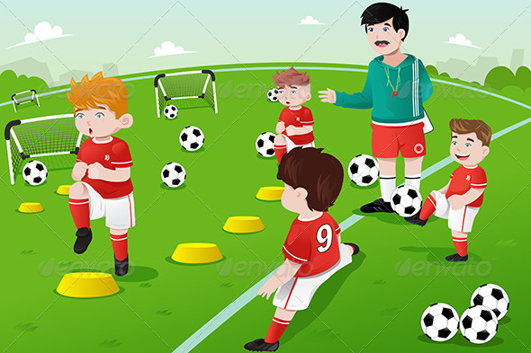 Kids in Soccer Practice - Sports/Activity Conceptual