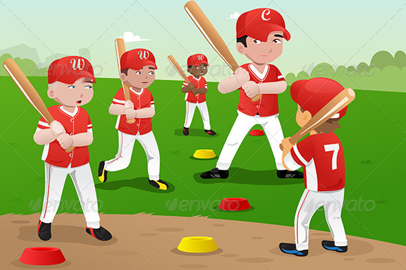 Kids in Baseball Practice - Sports/Activity Conceptual