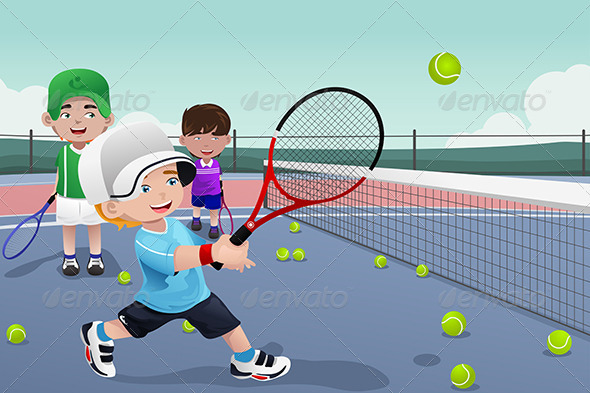 Kids in Tennis Practice - Sports/Activity Conceptual