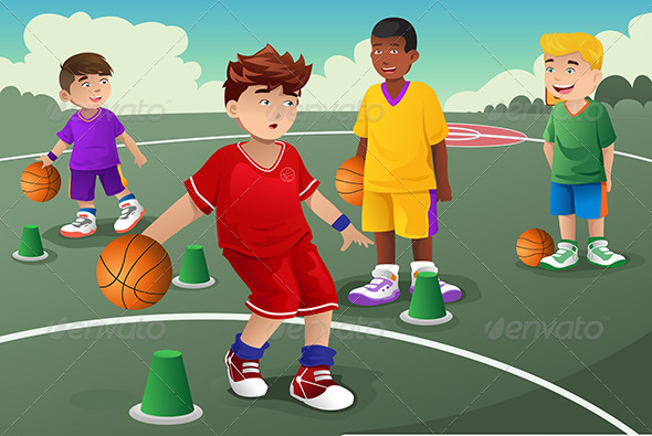 Kids in Basketball Practice - Sports/Activity Conceptual
