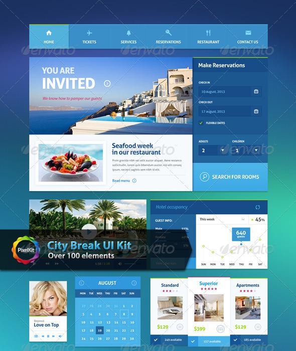 City Break UI Kit - User Interfaces Web Elements