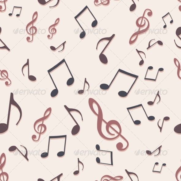 Vector Seamless Pattern of Music Notes - Patterns Decorative