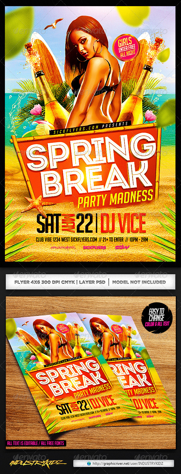 Spring Break Party Flyer Template PSD - Clubs & Parties Events