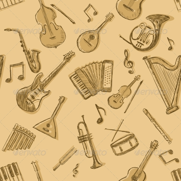 Vector Seamless Pattern of Musical Instruments - Patterns Decorative