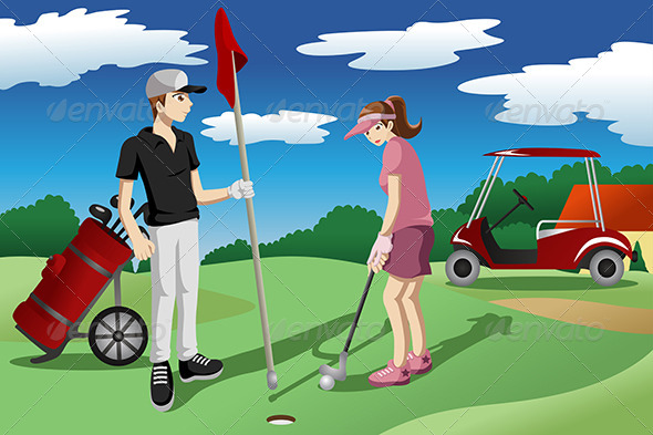 Young People Playing Golf - Sports/Activity Conceptual