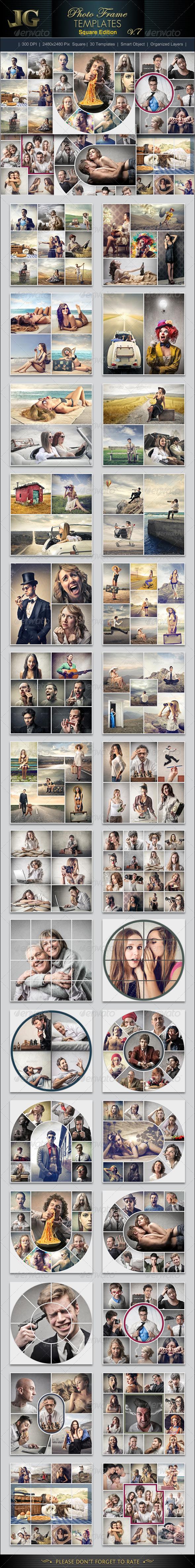 Photo Frame Templates V7 Square - Photo Templates Graphics