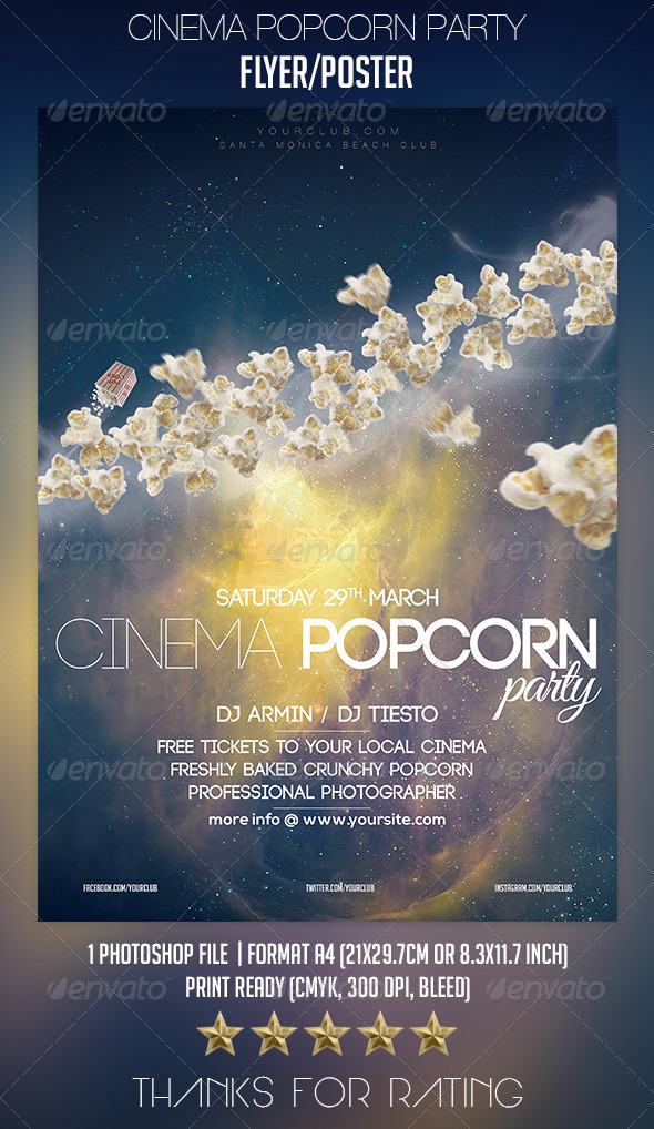 Cinema Popcorn Party Flyer/Poster - Clubs & Parties Events