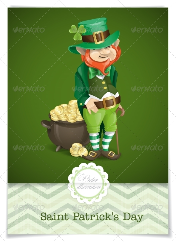 St. Patrick's Day. Leprechaun With Pot Of Gold.  - Miscellaneous Seasons/Holidays