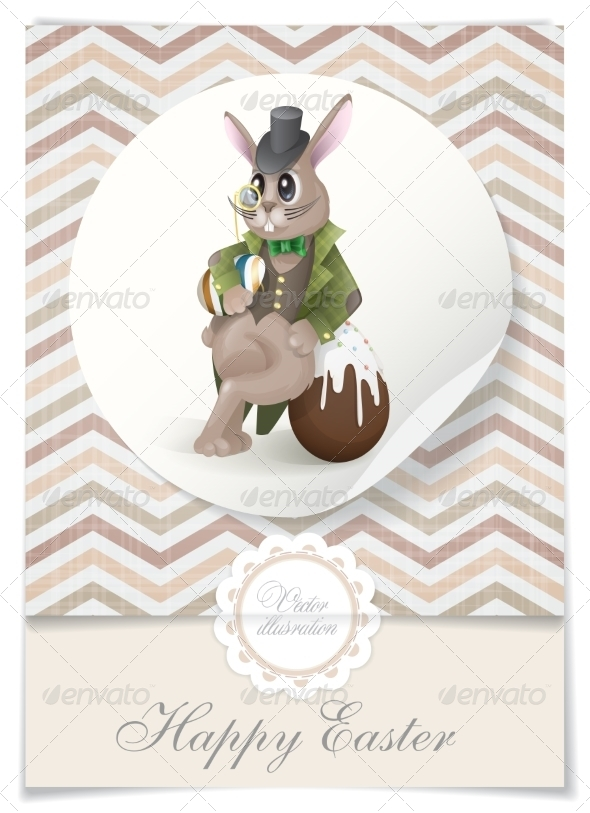 Easter Bunny With Chocolate Egg.  - Miscellaneous Seasons/Holidays