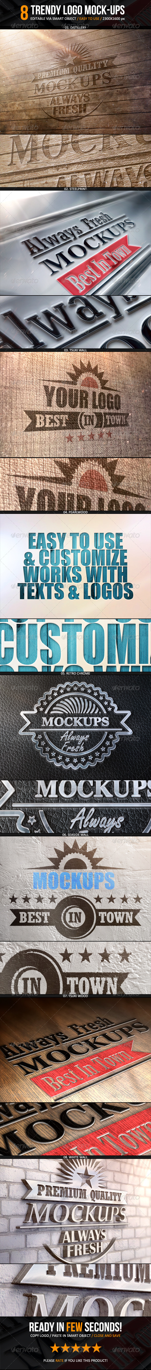 Trendy Logo Mockup - 8 Smart Templates - Logo Product Mock-Ups