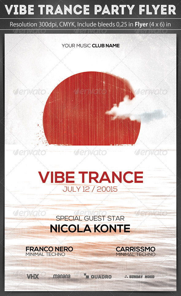 Vibe Trance Party Flyer - Clubs & Parties Events
