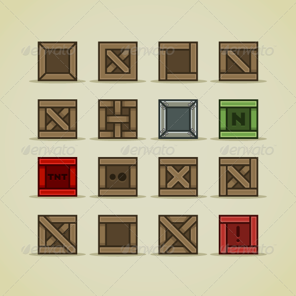 Set of Boxes For Games - Objects Vectors