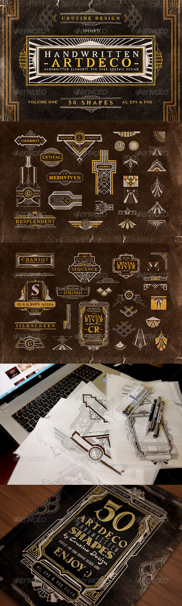Handwritten Artdeco Elements v.1 - Badges & Stickers Web Elements