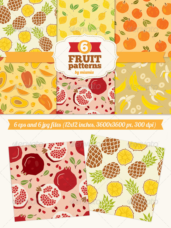 Seamless Patterns with Fruits - Food Objects