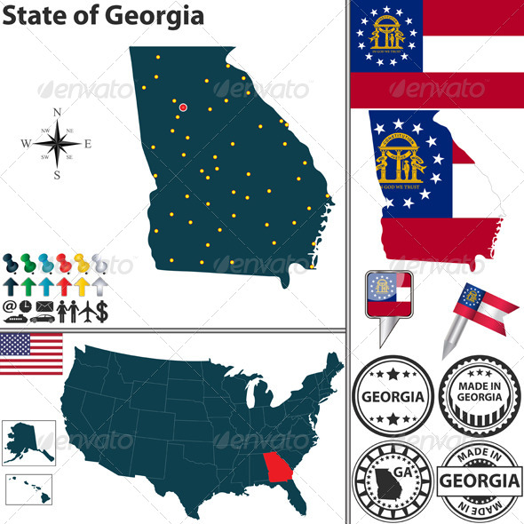 Map Of State Georgia USA By Sateda GraphicRiver - Map of georgia usa