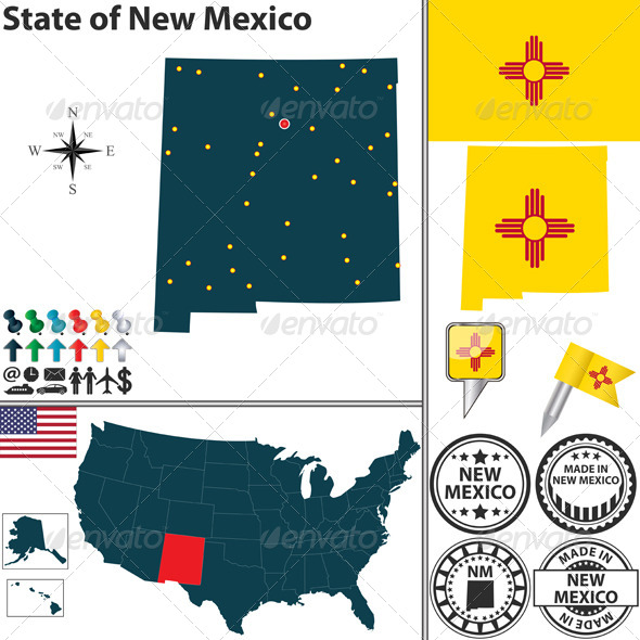 Map of State New Mexico, USA - Travel Conceptual