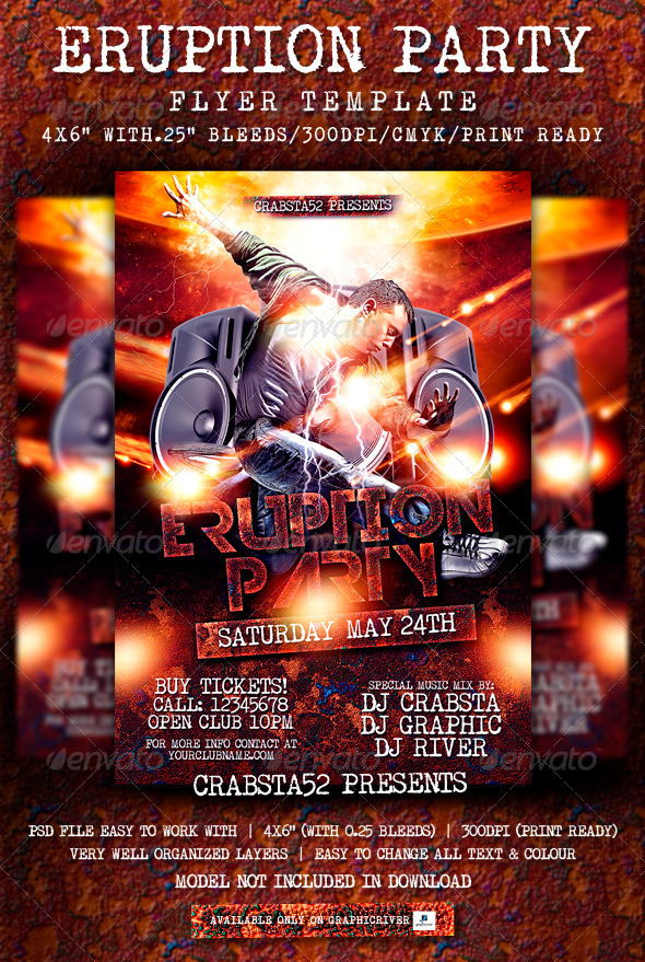 Eruption Party Flyer Template  - Events Flyers
