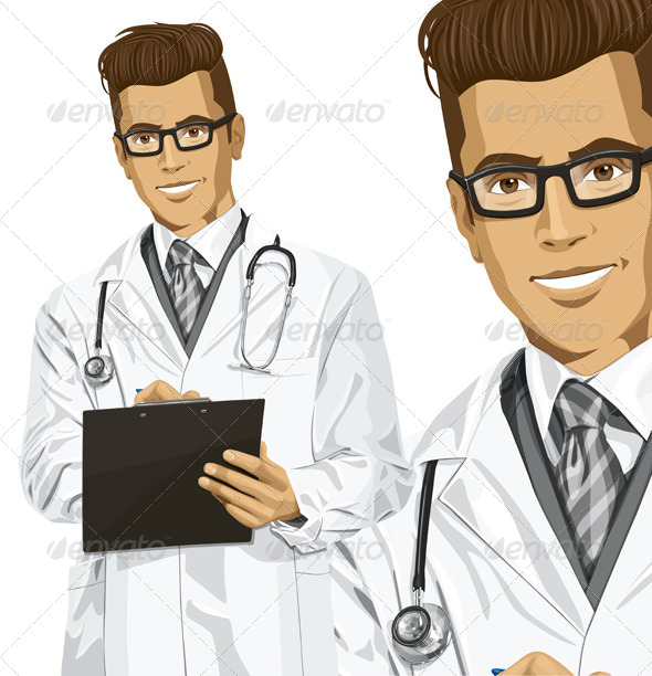 Hipster Doctor Man with Clipboard - People Characters