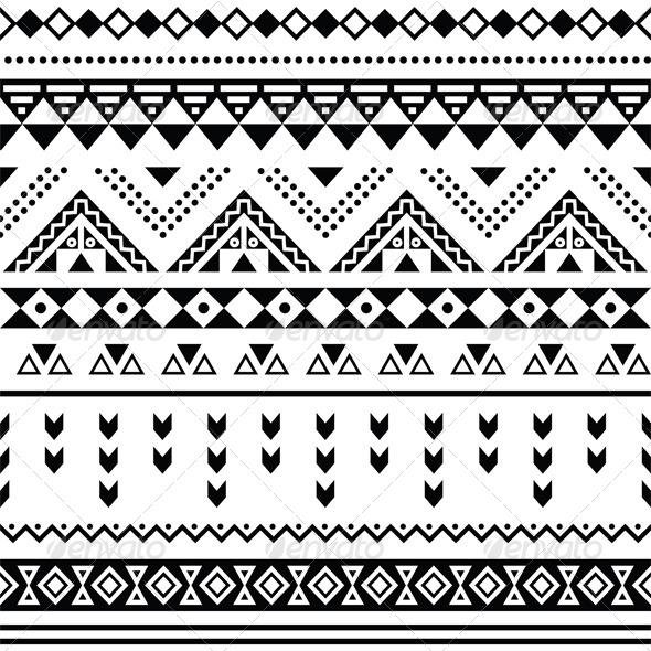 Tibal Seamless Pattern Black Aztec Print - Patterns Decorative