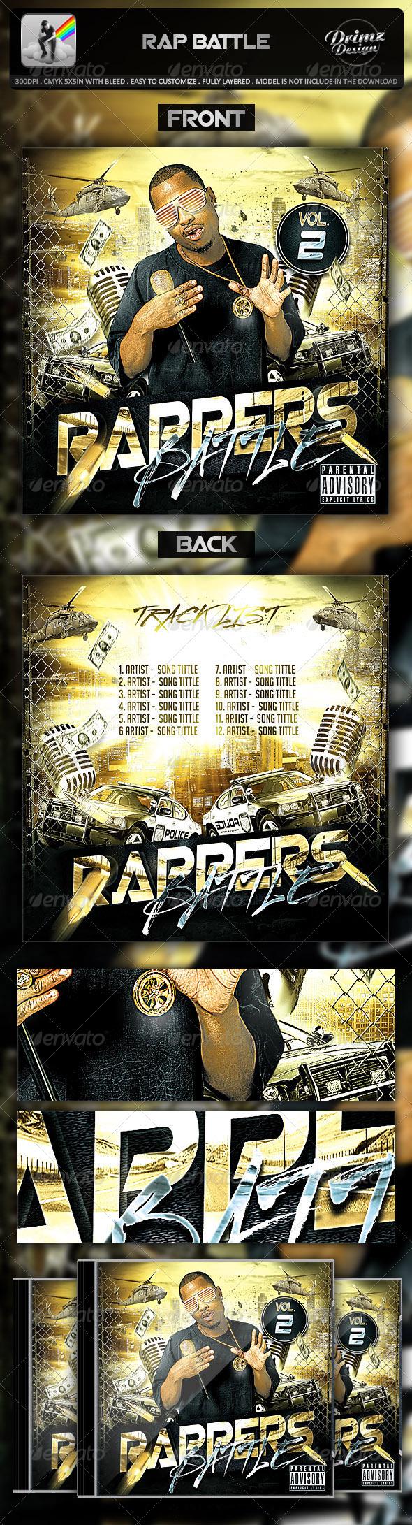 Rap Battle Mixtape Template - CD & DVD Artwork Print Templates