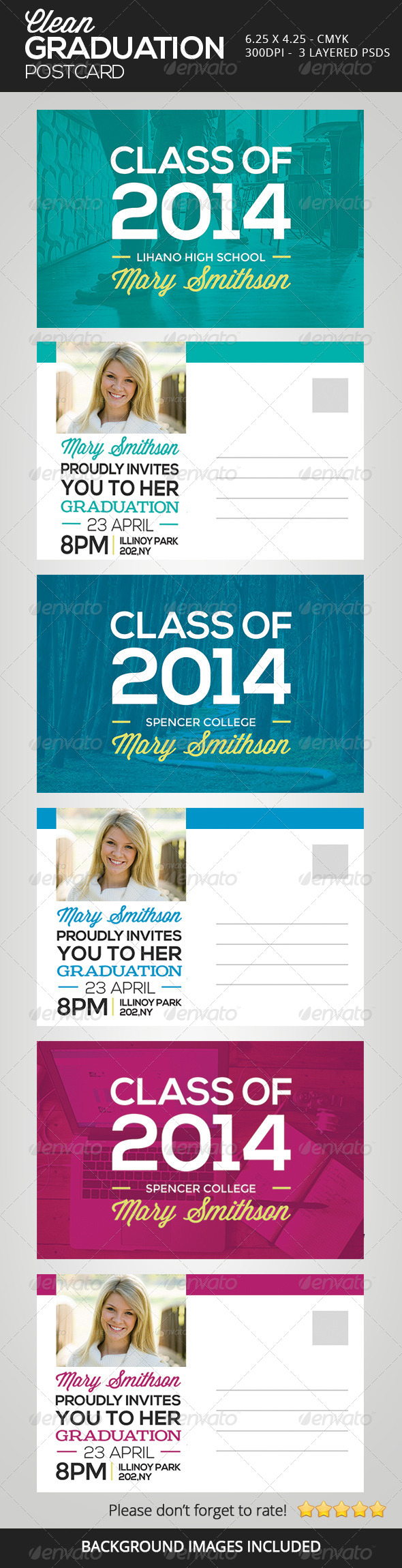 Clean Graduation Postcards - Invitations Cards & Invites