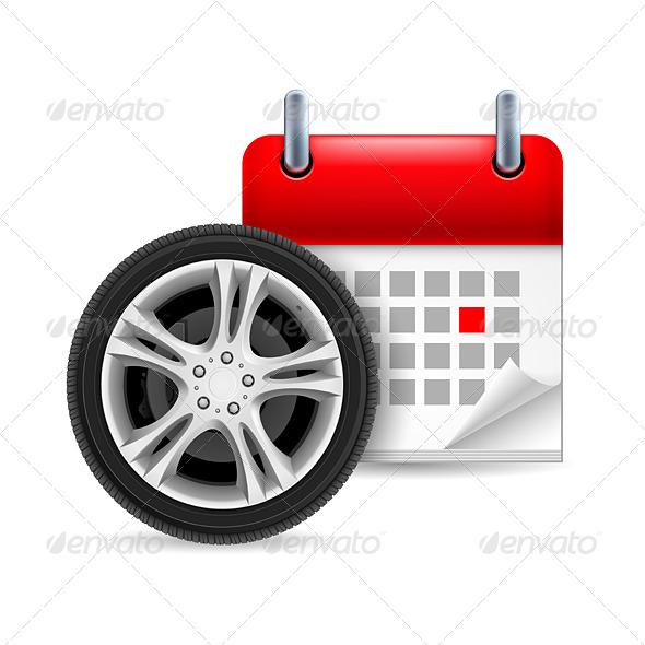 Car Tire and Calendar  - Miscellaneous Vectors